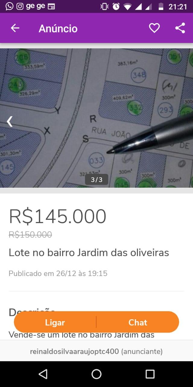Lote a venda no bairro Jardim das oliveiras em patrocínio MG